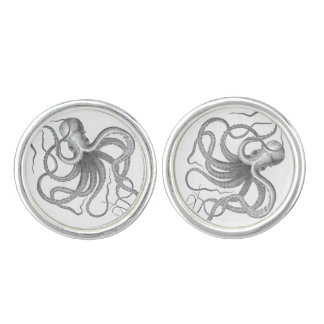 Nautical steampunk octopus Vintage kraken antique Cufflinks