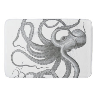 Nautical steampunk octopus Vintage kraken decor Bath Mats