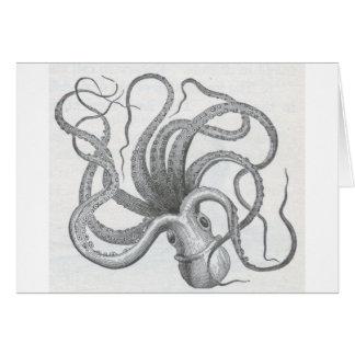 Nautical steampunk octopus vintage kraken design greeting card