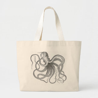 Nautical steampunk octopus vintage kraken drawing large tote bag