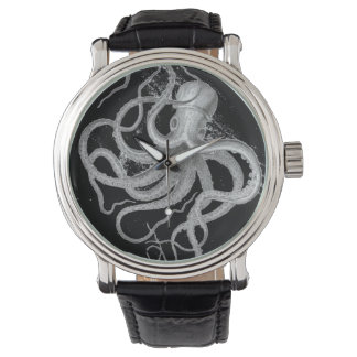Nautical steampunk octopus vintage kraken drawing wrist watch