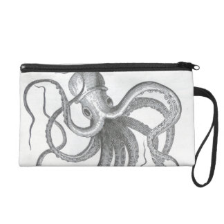Nautical steampunk octopus vintage kraken drawing wristlet
