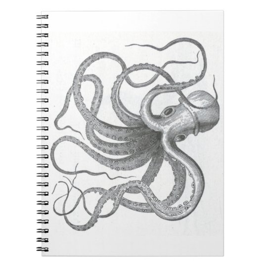 Nautical steampunk octopus vintage preppy kraken notebooks