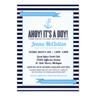 Nautical Stripe Anchor Baby Blue Shower Invitation