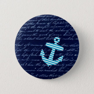 Nautical Stripe anchor handwriting design 6 Cm Round Badge