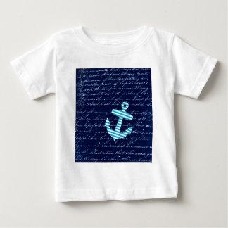 Nautical Stripe anchor handwriting design Baby T-Shirt