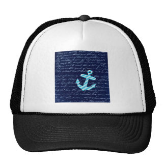 Nautical Stripe anchor handwriting design Cap