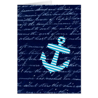 Nautical Stripe anchor handwriting design Card