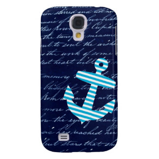 Nautical Stripe anchor handwriting design Galaxy S4 Case