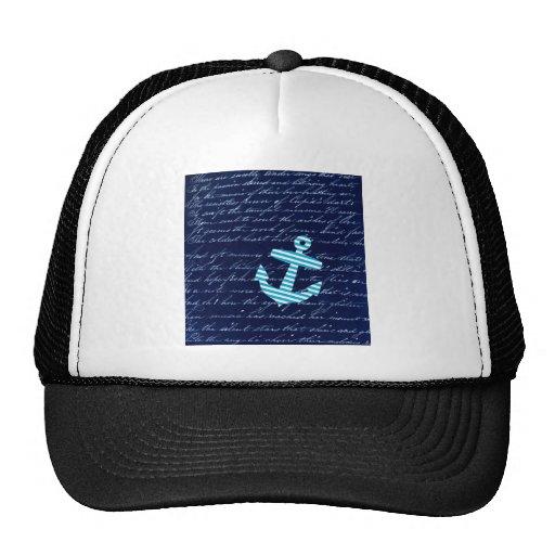 Nautical Stripe anchor handwriting design Trucker Hat