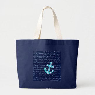 Nautical Stripe anchor handwriting design Large Tote Bag