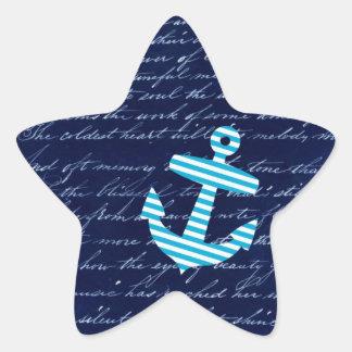 Nautical Stripe anchor handwriting design Stickers