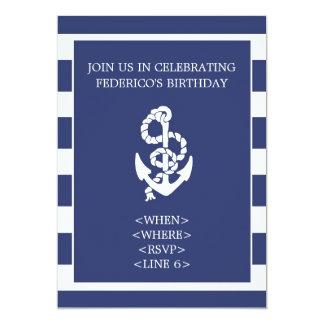 Nautical Stripe Anchor Party Invitation, Navy Blue 13 Cm X 18 Cm Invitation Card