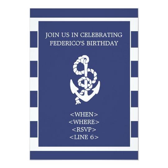 Nautical Stripe Anchor Party Invitation, Navy Blue Card