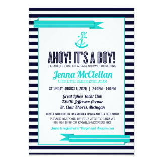 Nautical Stripe Anchor Turquoise Baby Shower Card