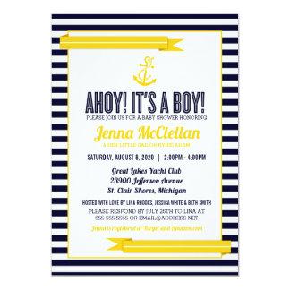 Nautical Stripe Anchor Yellow & Navy Baby Shower Card