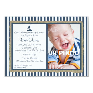 Nautical Stripe and Sailboat Baptism 13 Cm X 18 Cm Invitation Card