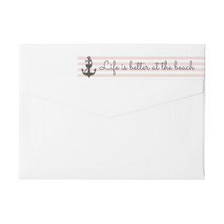 Nautical Stripe Blush Pink & Anchor Return Address Wrap Around Label