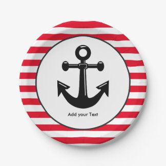 Nautical Stripe Pattern | Red and White 7 Inch Paper Plate