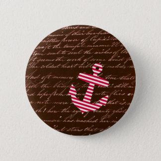 Nautical Stripe red anchor 6 Cm Round Badge
