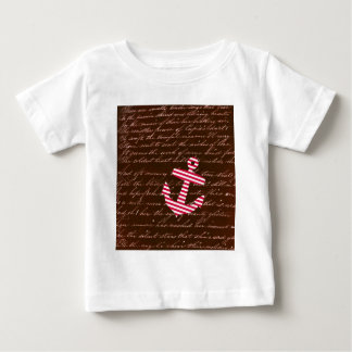 Nautical Stripe red anchor Baby T-Shirt