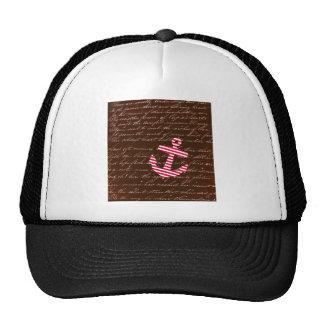 Nautical Stripe red anchor Trucker Hats