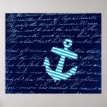 Nautical Striped blue anchor art poster
