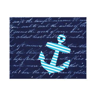 Nautical Striped blue anchor canvas art print Stretched Canvas Prints