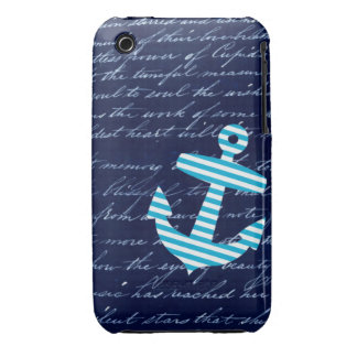 Nautical Striped blue anchor iphone 3 case