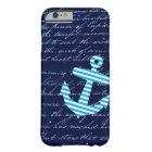 Nautical Striped blue anchor iPhone 6 case