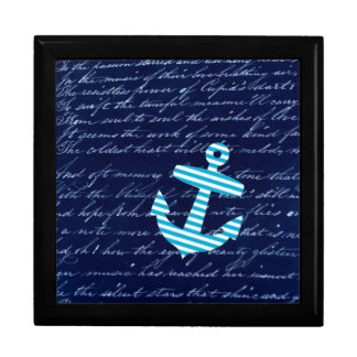 Nautical Striped blue anchor jewelry gift box