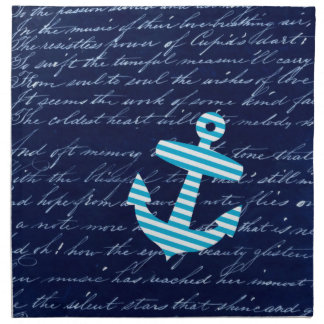 Nautical Striped blue anchor napkins