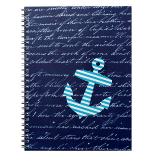 Nautical Striped blue anchor notebook
