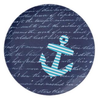 Nautical Striped blue anchor plate