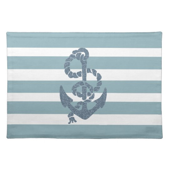 Nautical Stripes Anchor Placemat