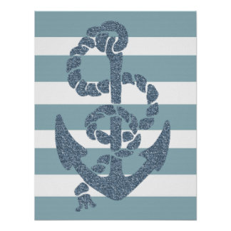 Nautical Stripes Anchor Poster