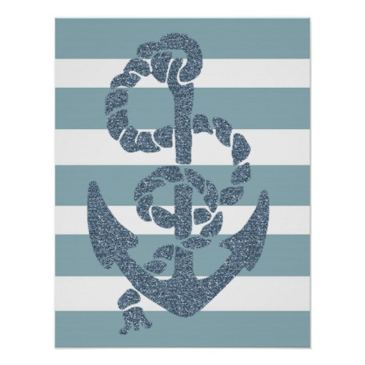 Nautical Stripes Anchor Posters
