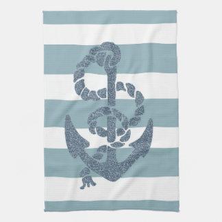 Nautical Stripes Anchor Tea Towel