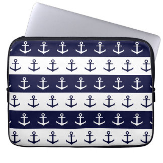 Nautical stripes and anchor pattern laptop sleeve