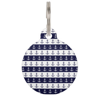 Nautical stripes and anchor pattern pet tag