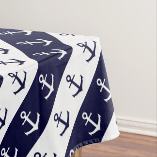 Nautical stripes and anchor pattern tablecloth