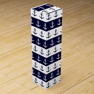 Nautical stripes and anchor pattern wine bottle boxes