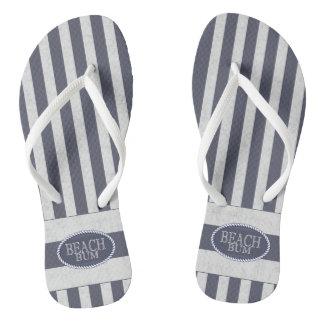 Nautical Stripes and Beach Bum Theme Flip Flops