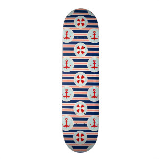 Nautical Stripes And Dots Pattern 21.6 Cm Skateboard Deck