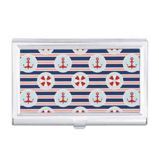 Nautical Stripes And Dots Pattern Business Card Holder