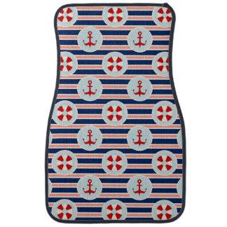 Nautical Stripes And Dots Pattern Car Mat