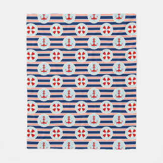 Nautical Stripes And Dots Pattern Fleece Blanket
