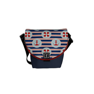 Nautical Stripes And Dots Pattern Messenger Bag