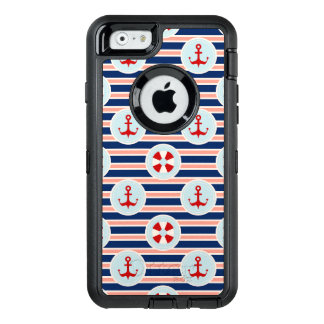 Nautical Stripes And Dots Pattern OtterBox Defender iPhone Case