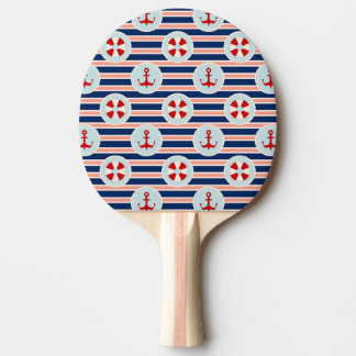 Nautical Stripes And Dots Pattern Ping Pong Paddle